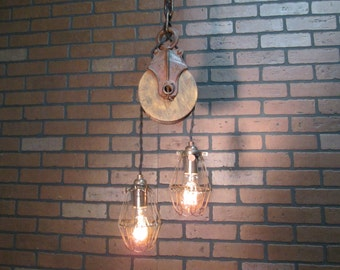 "Vintage Industrial Light Pulley Pendant Drop Ceiling Light with Trouble Cage Shades  36"" Long"