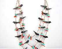 "10-40% OFF SALE Vintage Native American ZUNI Fetish Carved 28"" Necklace 3-Strand Birds Turquoise Coral Heishi Beads"