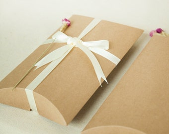 20 pcs Large Kraft Paper Pillow Boxes - Gift Packaging - Jewelry, Accessories, Scarf Box / Party, Wedding Favors
