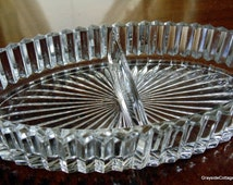 Vintage Divided Serving/Candy/Relish Dish Deep Cut Glass Crystal* Pristine Condition. Just Stunning
