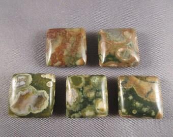Five (5) Rainforest Jasper Puffed-Square Beads