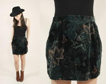 Vintage 70s / 1970s Dark Green Velvet Pleated Floral Mini Skirt - High Waist Boho / Bohemian Size Small