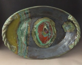 "Handmade Ceramic ""Twisted Root"" Oval Serving Platter"