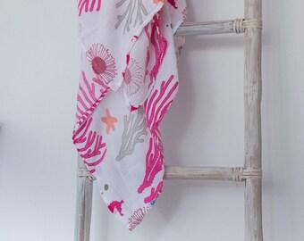 ORGANIC Muslin Cotton Swaddle Blanket Wrap - Ocean Rose Design by Ocean & Friends