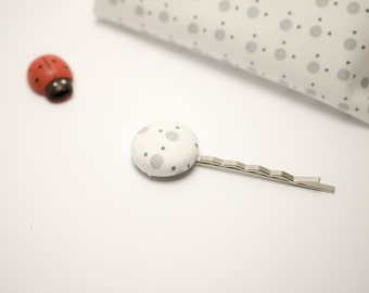 "Hair pin | Cotton fermacapellli hair clip with button ""GREY"""