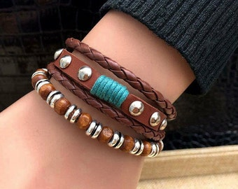 Women's Leather Bracelet 2 Piece Fashion Set with Hemp and Charms Braclet Adjustable  CH-45