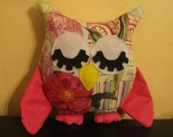 Spring print stuffed sleepy owl/nursery decor/pillow
