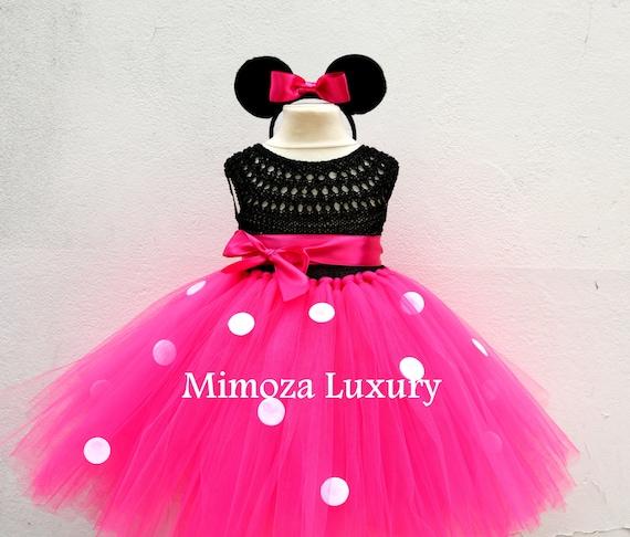 Minnie mouse dress, mickey mouse birthday dress, Flower girl dress, pink tutu dress miki mouse princess dress pink crochet top tulle dress