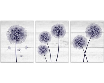 Rustic Home Decor CANVAS, Navy and White Dandelion Art, Bathroom Wall Decor, Wood Effect Dandelion Bedroom Decor, Nursery Wall Art - HOME193