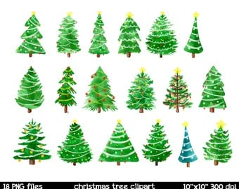 Watercolor Christmas Clipart | Christmas Tree Clipart | Watercolor Christmas Tree Clipart | Watercolor Clipart | Christmas Clipart