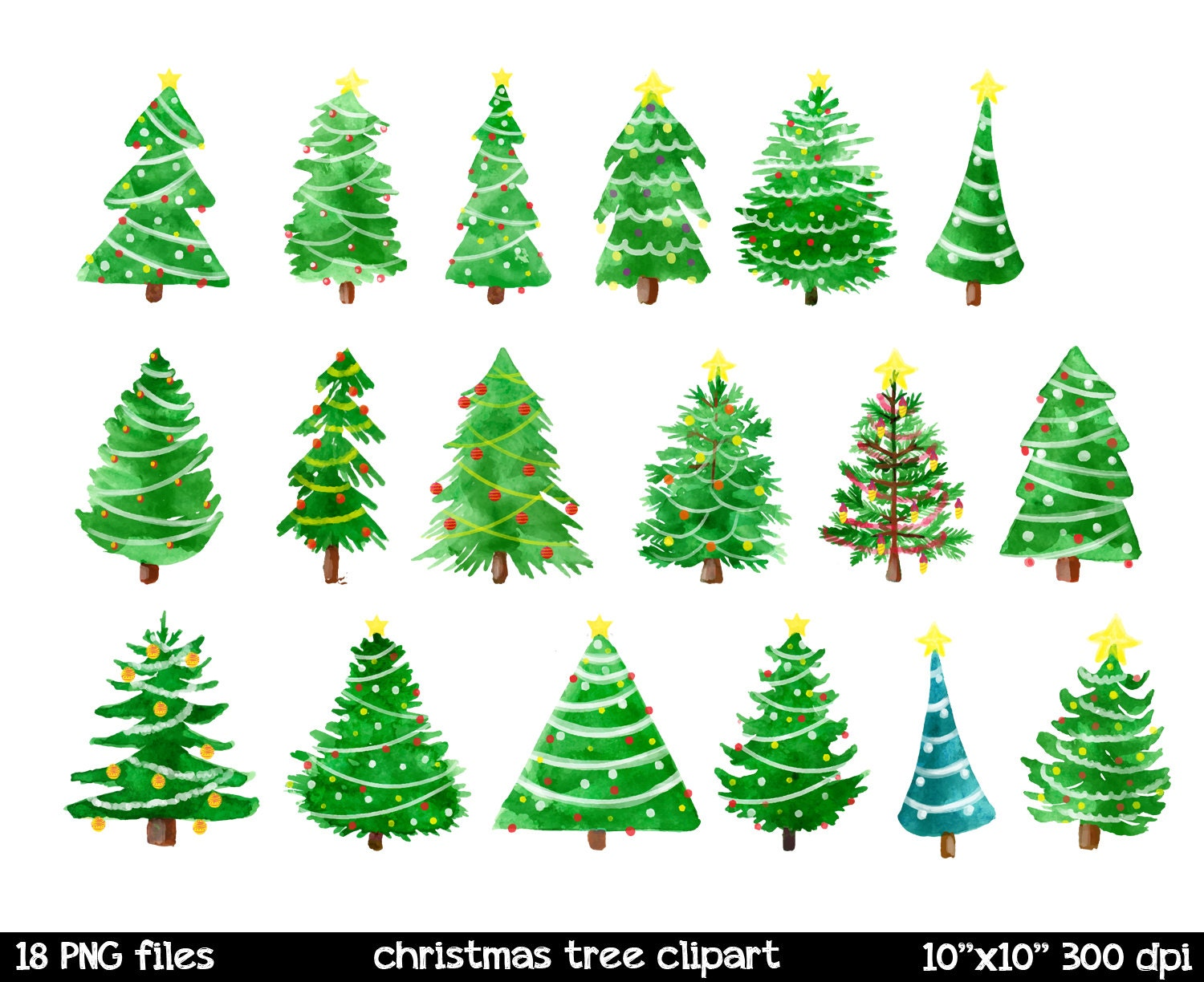 Watercolor Christmas Clipart Christmas Tree Clipart By