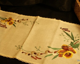 Doily, centerpiece embroidered linen