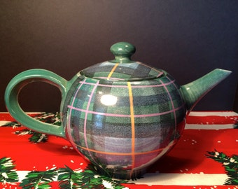 Scottish Teapot Tartan Plaid, Green, Blue