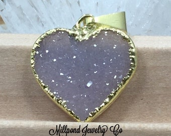 Druzy Heart Pendant, Heart Pendant, Druzy, Drusy, Gold Plated Pendant, One of a Kind Pieces, Natural, Petite, PG1707