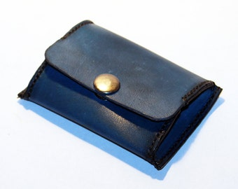 Leather coin wallet,blue coin wallet, great leather item, blue men's wallet, small coin wallet, gift for men.