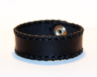 Black Leather Cuff Bracelet! Nice gift for women! Black wrist cuff! Bracelet wof women! Bracelet for men.
