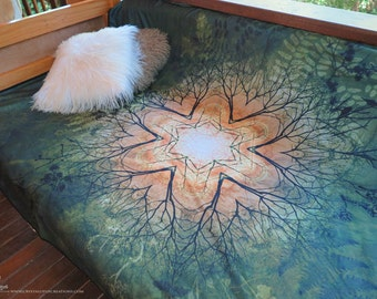 SPRING Fleece Blanket, Fairy blanket, earthy blanket, full print blanket, psychedelic throw, psychedelic blanket, bedding