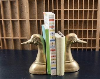 Set of Brass Duck Bookends