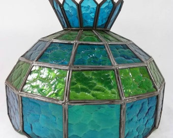 Vintage tiffany style blue green stained glass lamp shade retro swag