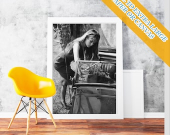 Brigitte Bardot Car - Classic Print Poster Rolled Wall Art Print POster Rolled - French former actress, singer and fashion  Photo