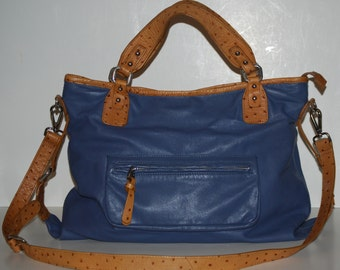Vintage DONALD J. PLINER Blue Leather & Ostich Handbag Purse with dustbag