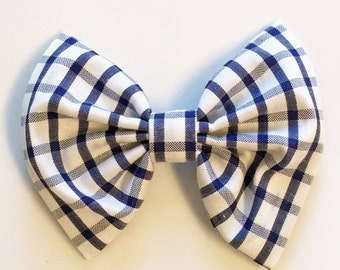 Blue checkered bow