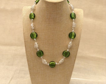 Silver-Lined Green Glass and Silver Twist Necklace