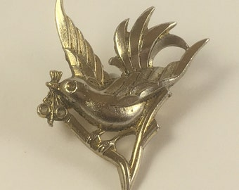 Vintage Goldtone Dove with Olive Branch Brooch