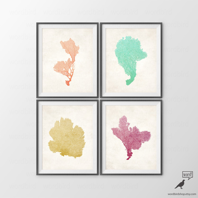 4 Print Set Coral Wall Art Bathroom Wall Decor Sea Fan Prints
