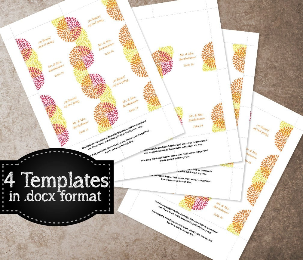 Pink, Orange, Gold Wedding Card Template, Printable Place Card ...