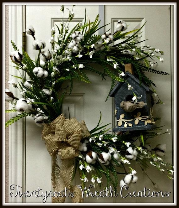 Farmhouse Wreath, Cotton Boll, Galvanized birdhouse grapevine wreath
