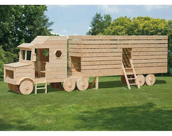 Wooden lorry playhouse, climbing frame