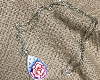 Hand Drawn Flower | Watercolor Art Pendant Necklace | Silver long chain