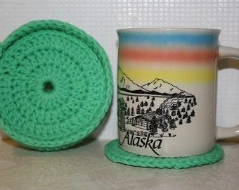Green Round  Crochet Coaster set