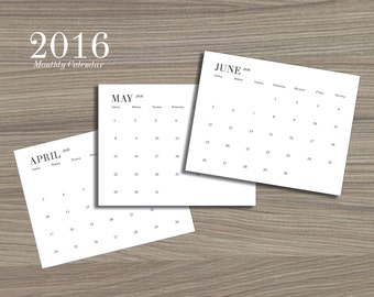 2016 Printable Monthly Wall Desk Calendar - Instant Download in Black & White