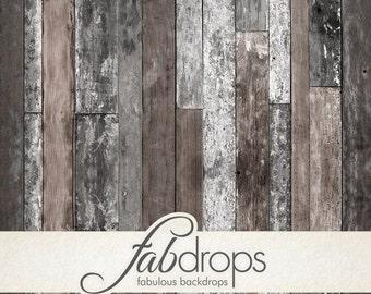 5x7 Reclaimed Farm Wood Backdrop   Worn painted wood flooring Photography Backdrop - Fab Vinyl 5'x7' ft  (FV0552)