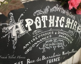 THE GRAPHICS FAIRY front page feature Apothicaire Apothecary pharmacy french france antique  vintage wood sign Paris prescription antiseptic