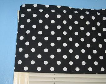 Large White Polka Dots on BLACK Handmade 100% Cotton Window Curtain Curtain Valance