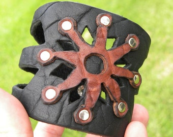 Handmade Buffalo Biosn  Leather customize to wrist size wristband bracelet Aboriginal Indian style