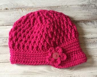 Handmade hat, Crochet Brim hat,Newsboy Hat, women's hat with Flower,women's hat with Button, women's brim hat, women's newsboy hat