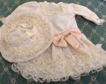 Vintage Victorian Style Doll Dress And Hat