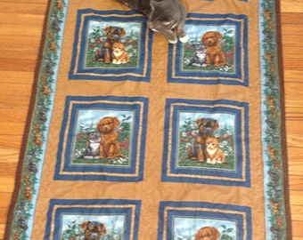Twin Brown Quilt with Puppies and Kittens