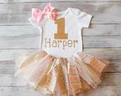 Monogrammed Gold and Pink 1st Birthday Bodysuit Tutu Bow Set Gold 1st Bday Bodysuit Baby Girl 1st Birthday Outfit Gold & Pink Chevron Tutu