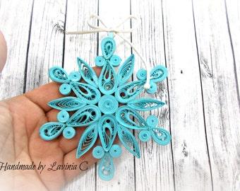 Handmade Blue Snowflake Decoration Celestian Snowflake ornament Blue Star Decorations Blue Quilled Snowflake Blue Christmas Ornaments