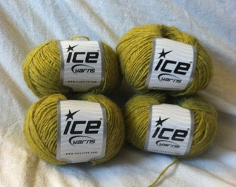 Ice Yarns Destash Lot of 4 Bolivia Light Yellow Green