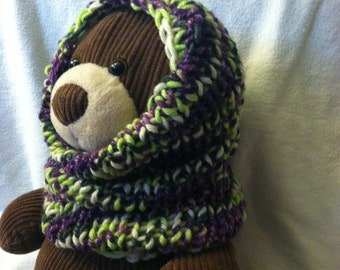 Hand Knit, Chunky Cowl, Snood, Scarf, Hooded Cowl, Toddlers