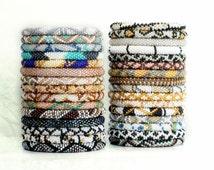 Wholesale Nepal Roll On Bracelet Grab Bag 10, 20, 50 PC Neutral & Metallic Hues, Glass Seed Bead Bracelets, Lotus Sky, Gypsy Yoga Bracelets