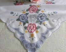 Vintage Cut Work Embroidered Tablecloth - Vintage Square Tablecloth - Garden Party - Rustic Wedding - Pink and Blue Roses - From Holland