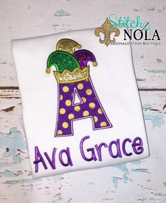 Mardi Gras Jester Hat Alpha Shirt, Bodysuit or Gown