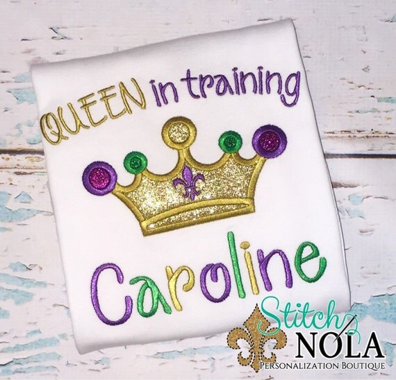 Mardi Gras QUEEN in Training Shirt, Bodysuit or Gown